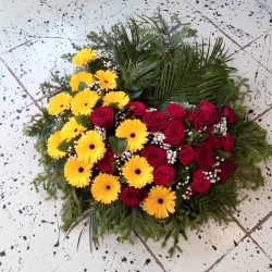 Memorial wreath with yellow...