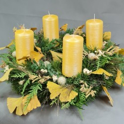 Advent wreath with a yellow...