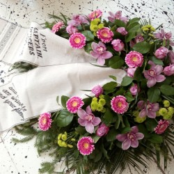 Memorial wreath with pink...