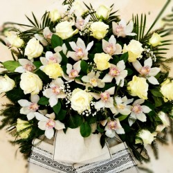Funeral wreath composition