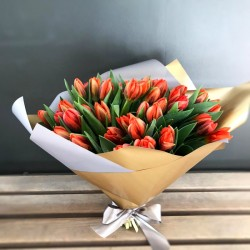 Bouquet of orange tulips