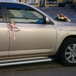 Wedding car decor with pink...