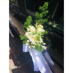 Wedding car decor with greens