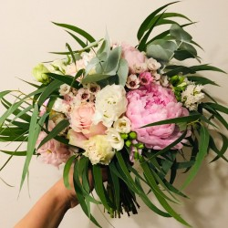 Bridal bouquet with a green...