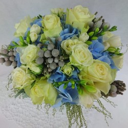 Bridal bouquet with a blue...