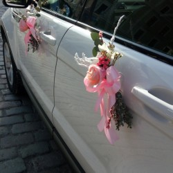 Pink flower wedding car decor