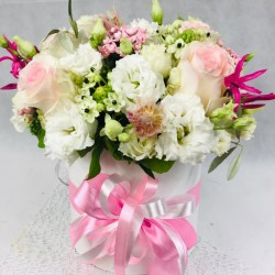 Цветочная коробка Розовая...