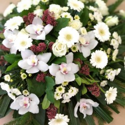 Funeral wreath of white...