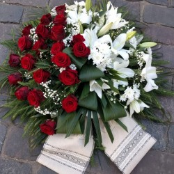 Funeral wreath of red roses...