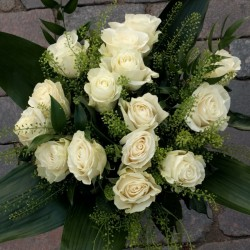 White roses with greens