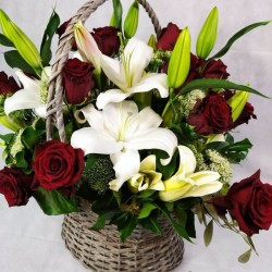 Flower basket with lilies