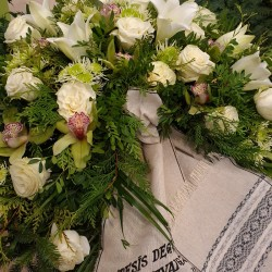 Funeral Wreath with White...