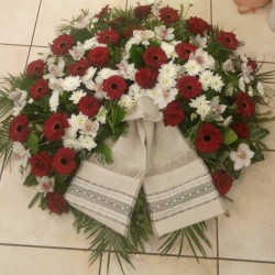 Funeral Wreath with White,...