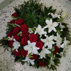 Funeral Wreath in White and...
