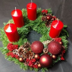 Advent wreath with a red...